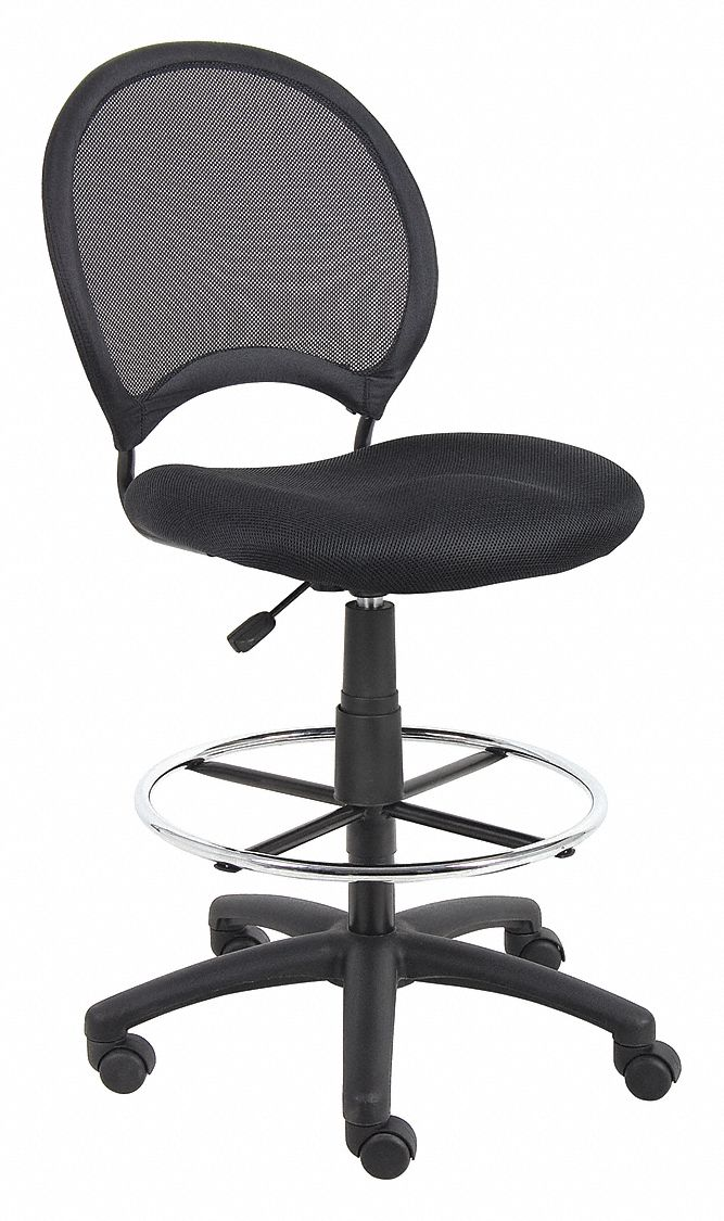 Drafting Chair,  Drafting Chair,  Black,  Mesh,  25 in to 30 in Nominal Seat Height Range