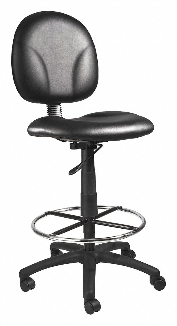 Drafting Chair,  Drafting Chair,  Black,  Vinyl,  27 in to 32 in Nominal Seat Height Range