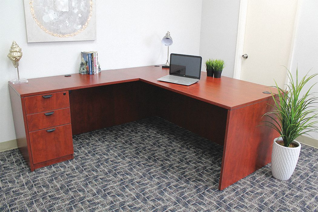 71 in x 83 in x 29 1/2 in L-Shape Workstation, Mahogany