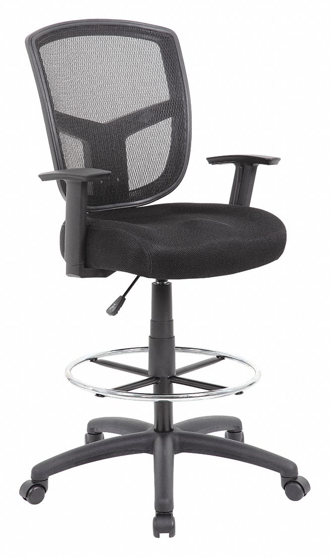 Drafting Chair,  Drafting Chair,  Black,  Mesh,  27 in to 30 in Nominal Seat Height Range