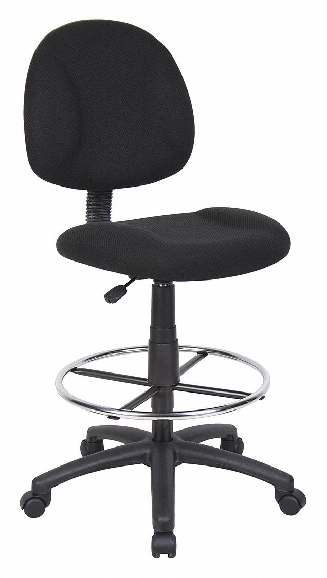 Drafting Chair,  Drafting Chair,  Black,  Fabric,  27 in to 32 in Nominal Seat Height Range