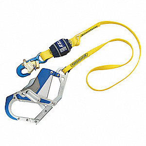 Fixed Length Shock-Absorbing Lanyard, Number of Legs: 1, Maximum Working Length: 6 ft.