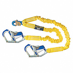 Shock-Absorbing Lanyard, Number of Legs: 2, Working Length: 6 ft.