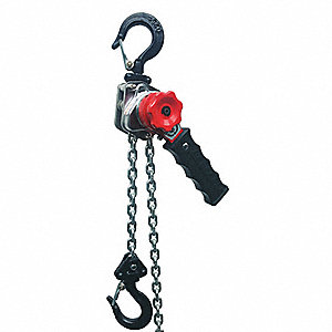 "Lever Chain Hoist, 550 lb. Load Capacity, 10 ft. Hoist Lift, 13/16"" Hook Opening"