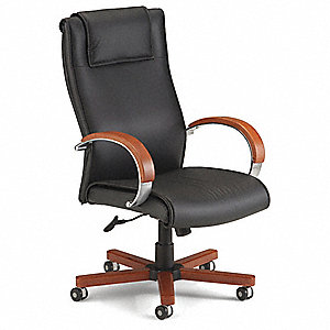 "Black Leather Executive Chair 31"" Back Height, Arm Style: Fixed"