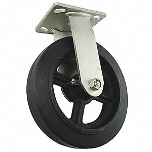 "8"" Light-Medium Duty Rigid Plate Caster, 600 lb. Load Rating"