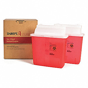 "Sharps Container,10""W,5 qt.,Snap Lid"