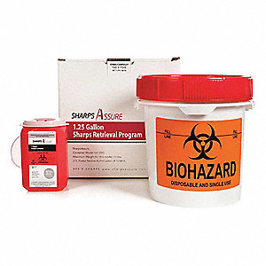 "Sharps Container, 9""W, 1-1/4 gal., Snap Lid"