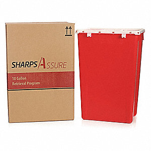 "Sharps Container, 22""W, 18 gal., Snap Lid"