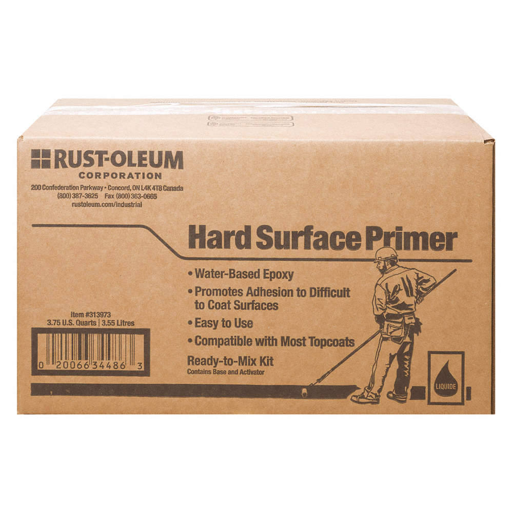 Gray Hard Surface Primer, Matte Finish, 250 to 350 sq  ft /gal  Coverage,  Size: 3 75 qt