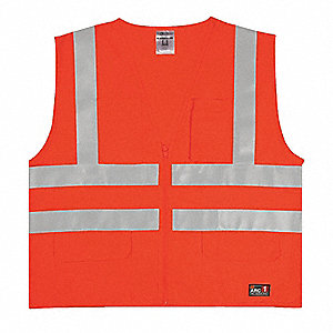 Orange with Silver Stripe Flame Resistant Vest, ANSI 2, Zipper Closure, 4XL