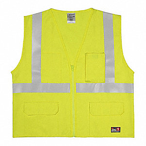 Lime with Silver Stripe Flame Resistant Vest, ANSI 2, Zipper Closure, L