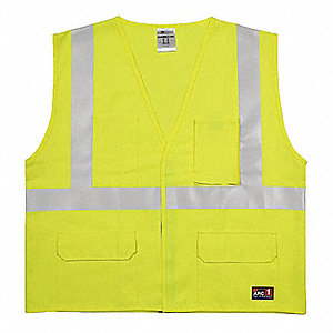 Lime with Silver Stripe Flame Resistant Vest, ANSI 2, Hook-and-Loop Closure, L/XL