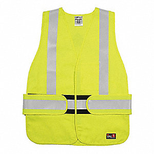 Lime with Silver Stripe Flame Resistant Vest, ANSI 2, Hook-and-Loop Closure, Universal