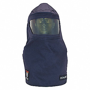 Navy Arc Flash Hood, Size: Universal, 20.0 cal./cm2 ATPV Rating, Hazard Risk Category (HRC) 2