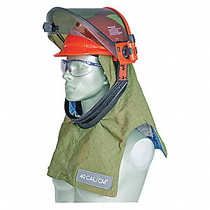 Green Arc Flash Hood, Size: Universal, 40.0 cal./cm2 ATPV Rating, Hazard Risk Category (HRC) 4