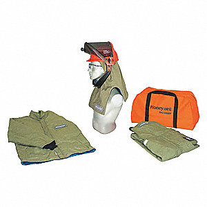 40.0 cal./cm2 Arc Flash Protection Clothing Kit, 4-HRC, Green, XL