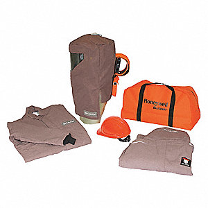 100.0 cal./cm2 Arc Flash Protection Clothing Kit, 4-HRC, Khaki, 4XL