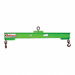 "Adjustable Spread Lifting Beam, 2000 lb., Max. Spread 48"", Min. Spread 36"", Headroom 21-5/8"""