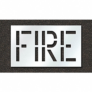 "Pavement Stencil, Fire, 18"", Polyethylene, 1 EA"