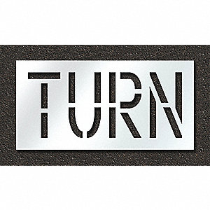"Pavement Stencil, Turn, 18"", Polyethylene, 1 EA"