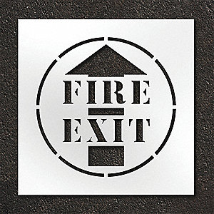 "Pavement Stencil, Fire Exit, 24"", Polyethylene, 1 EA"