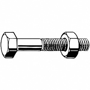 "3/8""-16, Steel Hex Head Cap Screw, Grade 2, 1-1/4""L, Zinc Plated Finish, 450 PK"