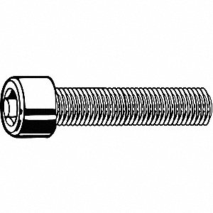 "1/2""-20 x 2-1/2"", Cylindrical, Socket Head Cap Screw, 18-8, Stainless Steel, Plain Finish, 110PK"
