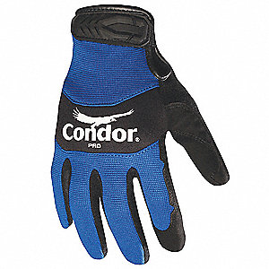 General Utility Mechanics Gloves, Synthetic Leather Palm Material, Black/Blue, M, PR 1