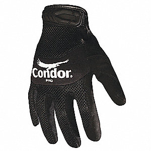 General Utility Mechanics Gloves, Synthetic Leather Palm Material, Black, S, PR 1