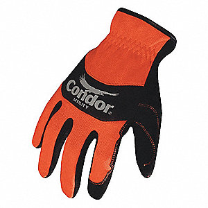 High-Visibility Mechanics Gloves, Synthetic Leather Palm Material, High Visibility Orange/Black, XL,