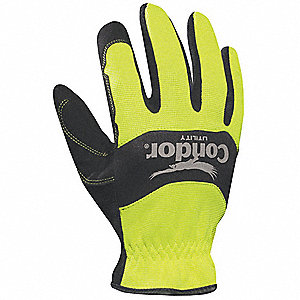 High-Visibility Mechanics Gloves, Synthetic Leather Palm Material, High Visibility Yellow/Black, M,