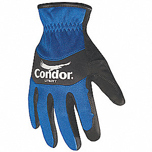General Utility Mechanics Gloves, Synthetic Leather Palm Material, Blue/Black, XL, PR 1