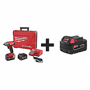 "1/2"" Cordless Impact Wrench Kit, 18.0 Voltage, 220 ft.-lb. Max. Torque, Battery Included"