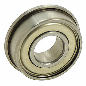Ball Bearing, 0.1875in Dia, 33 lb, Flanged