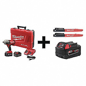 "1/2"" Cordless Impact Wrench Kit, 18.0 Voltage, 0 to 350/0 to 600 ft.-lb. Max. Torque, Battery Includ"