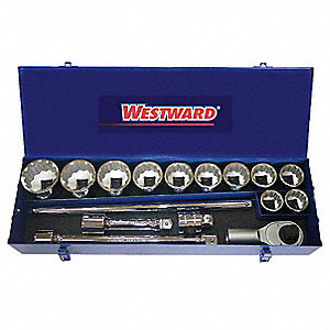 Socket Wrench Set,SAE,1 in. Dr,17 pc