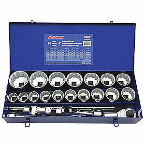 "1""Drive SAE Chrome Socket Wrench Set, Number of Pieces: 24"