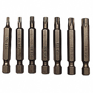 Power Torx Bit Set,1/4 In.,Steel,7 pcs.
