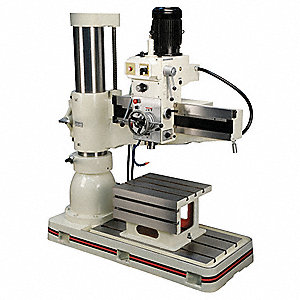 "1-1/2 to 3 Motor HP Radial Floor Drill Press, Belt Drive Type, 4"" Swing, 230 Voltage"