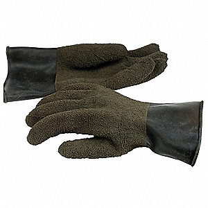 Rubber Coated Gloves, Size XL, Black