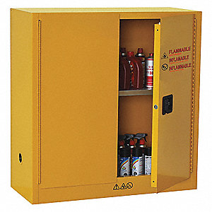 "43"" x 18"" x 44"" Cold Steel Flammable Liquid Safety Cabinet with Manual Doors, Yellow"