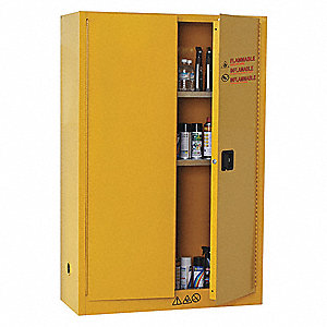 "43"" x 18"" x 65"" Cold Steel Flammable Liquid Safety Cabinet with Manual Doors, Yellow"