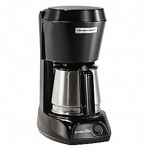 4 Cup Plastic/Stainless Steel Coffeemaker, Black/Silver