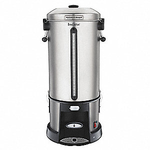 110 Cup Stainless Steel/Plastic Coffee Urn, Black/Silver