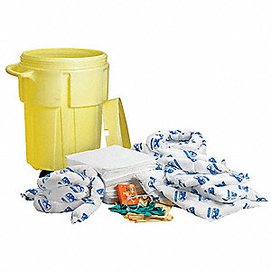 Spill Kit/Station, Drum, Oil-Based Liquids, 38 gal.