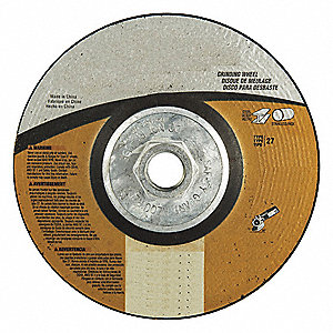 "6"" Type 27 Aluminum Oxide Depressed Center Wheels, 5/8""-11 Arbor, 1/4""-Thick, 10,185 Max. RPM"