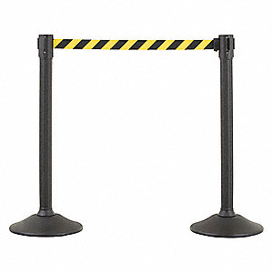 Barrier Post with Belt, HDPE, Black, PR