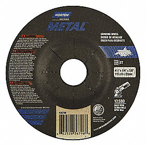 "4-1/2"" Type 27 Aluminum Oxide Depressed Center Wheel, 7/8"" Arbor, 1/4""-Thick, 13580 Max. RPM"