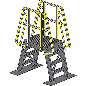 "5-Step FRP Composite Crossover Bridge, Open Grip Step Tread, 1"" Platform Depth, 57"" Platform Height"